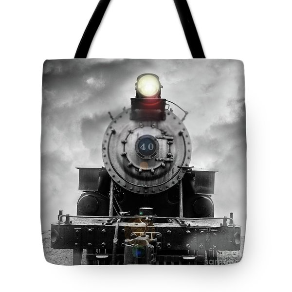 Tote Bag featuring the photograph Steam Train Dream Square by Edward Fielding