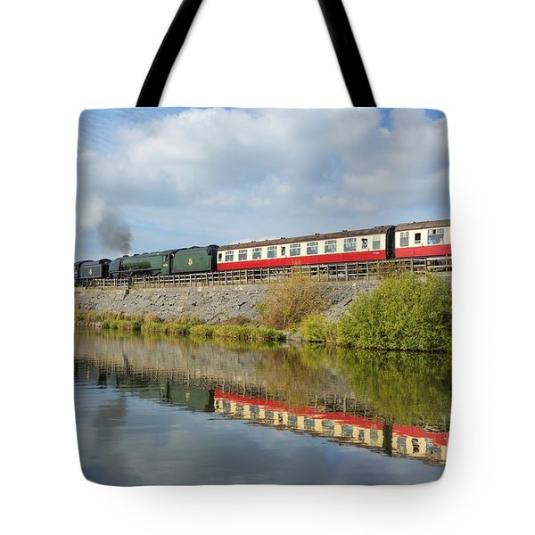 Tote Bag featuring the photograph Steam Train Reflections by David Birchall