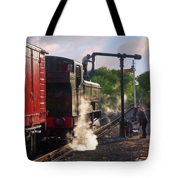 Steam Train Taking On Water Tote Bag by Gill Billington