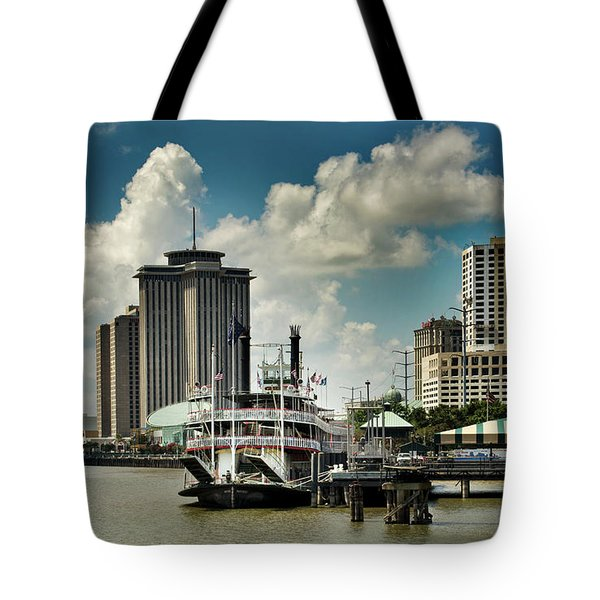 Steamboat And Big Buildings Tote Bag