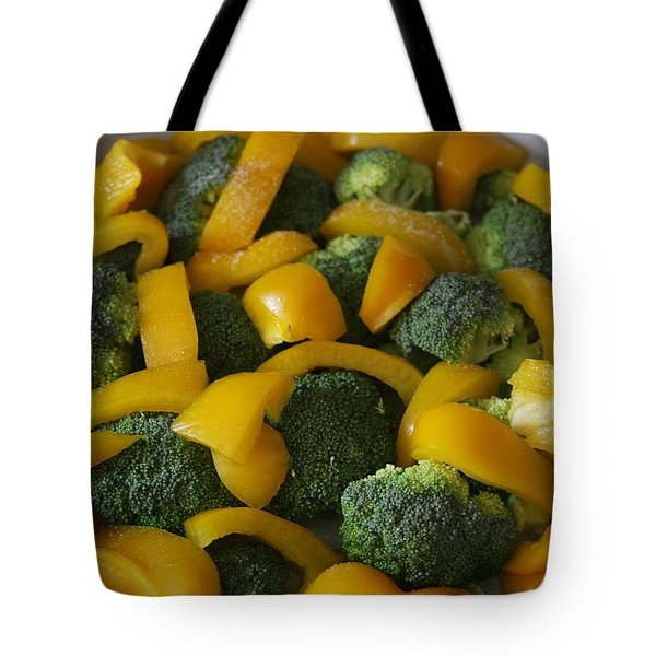 Tote Bag featuring the photograph Steamed Broccoli And Peppers by Vadim Levin