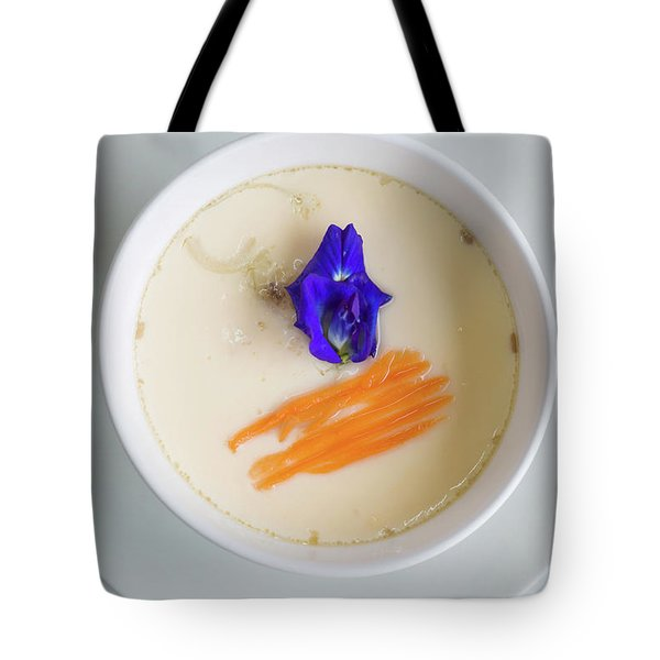 Tote Bag featuring the photograph Steamed Egg by Atiketta Sangasaeng