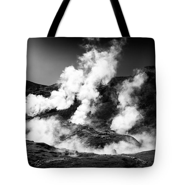 Tote Bag featuring the photograph Steaming Iceland Black And White Landscape by Matthias Hauser