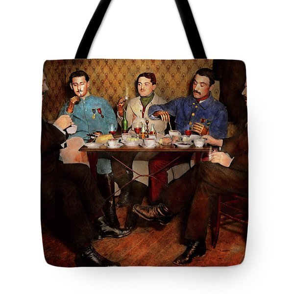 Tote Bag featuring the photograph Steampunk - Bionic Three Having Tea 1917 by Mike Savad