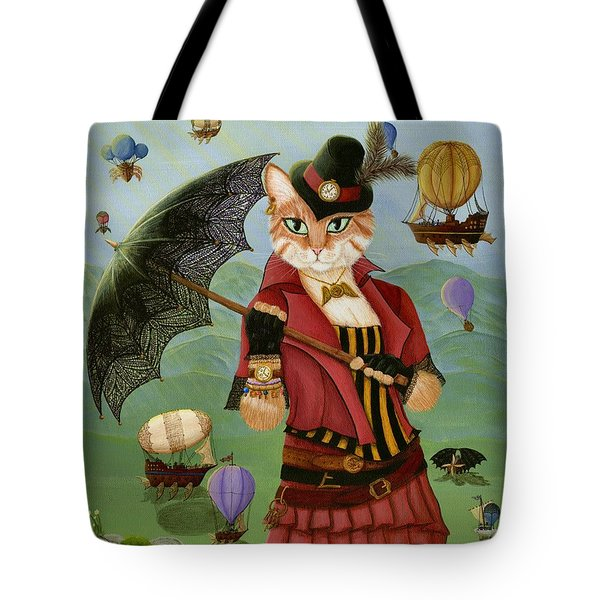 Steampunk Cat Gal - Victorian Cat Tote Bag