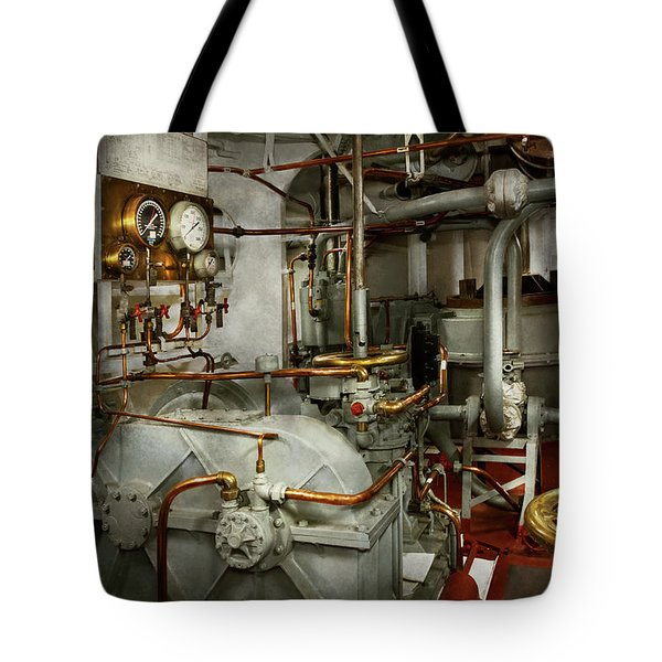 Tote Bag featuring the photograph Steampunk - In The Engine Room by Mike Savad