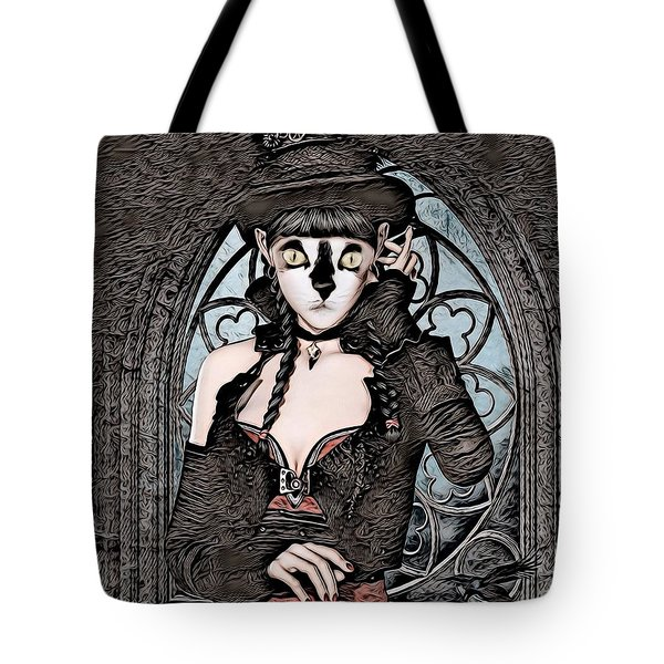 Steampunk Kitty By Artful Oasis Tote Bag