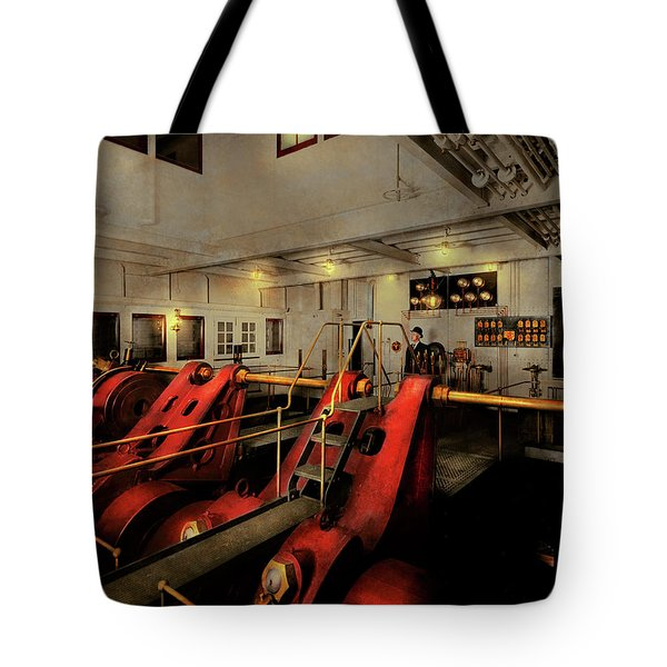 Tote Bag featuring the photograph Steampunk - Man The Controls 1908 by Mike Savad