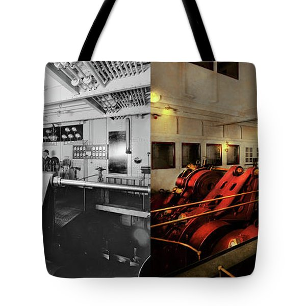 Tote Bag featuring the photograph Steampunk - Man The Controls 1908 - Side By Side by Mike Savad