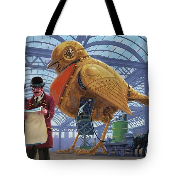 Tote Bag featuring the digital art Steampunk Mechanical Robin Factory by Martin Davey