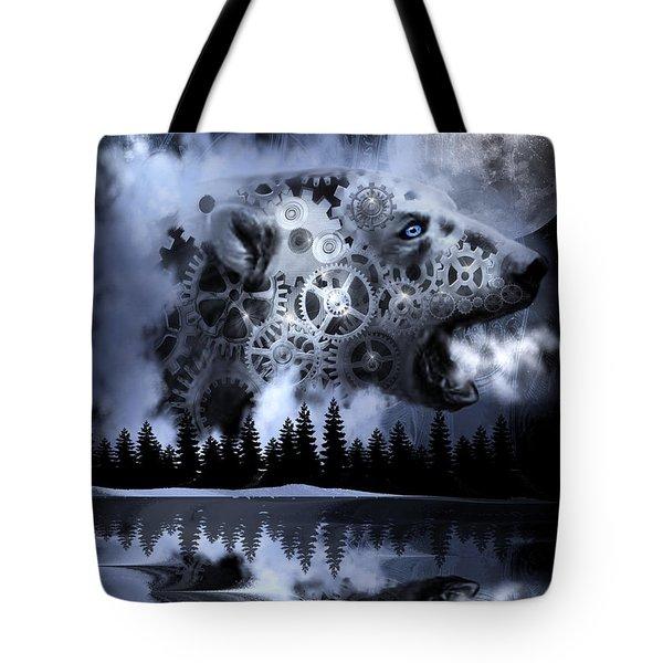Steampunk Polar Bear Landscape Tote Bag