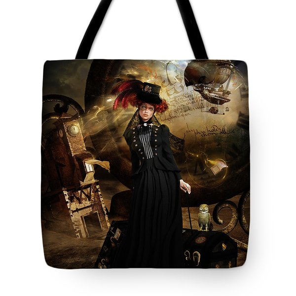 Steampunk Time Traveler Tote Bag