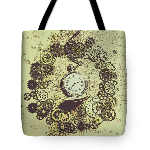 Steampunk Travel Map Tote Bag