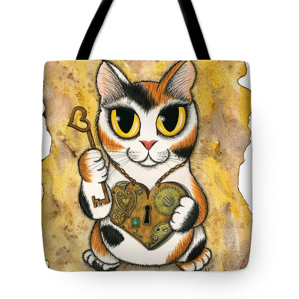 Steampunk Valentine Cat Tote Bag