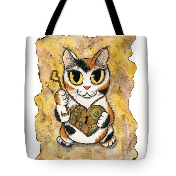 Steampunk Valentine Cat Tote Bag