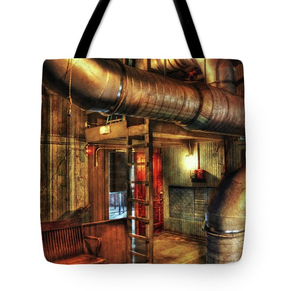 Steampunk - Where The Pipes Go Tote Bag by Mike Savad