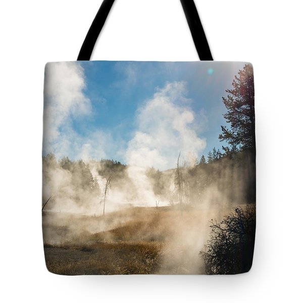 Steamy Sunrise Tote Bag by Birches Photography