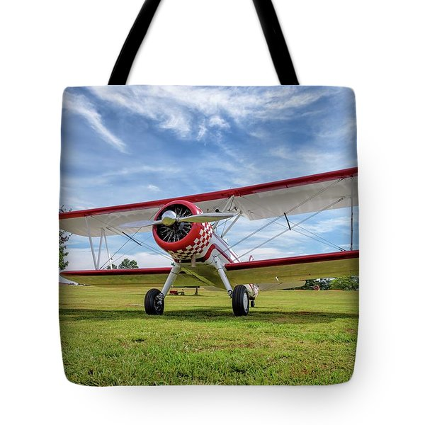 Stearman On Grass Tote Bag