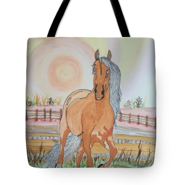 Tote Bag featuring the painting Stech Of A Horse by Connie Valasco