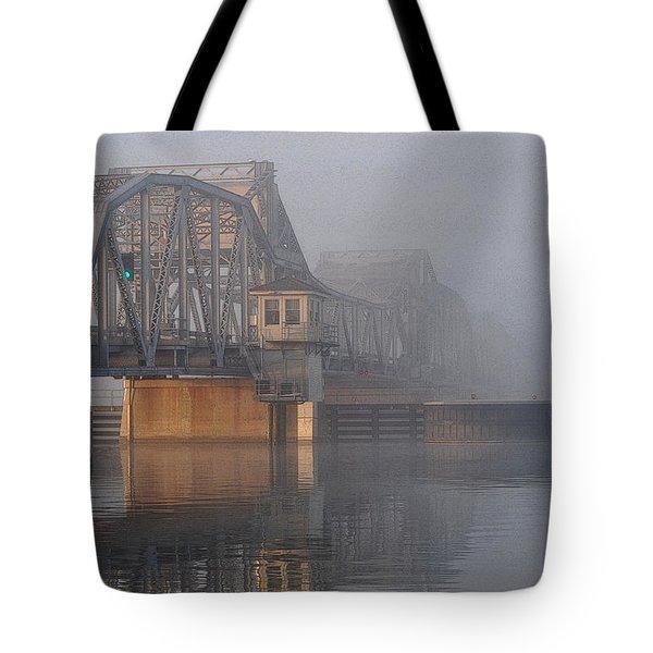 Steel Bridge In Fog Tote Bag