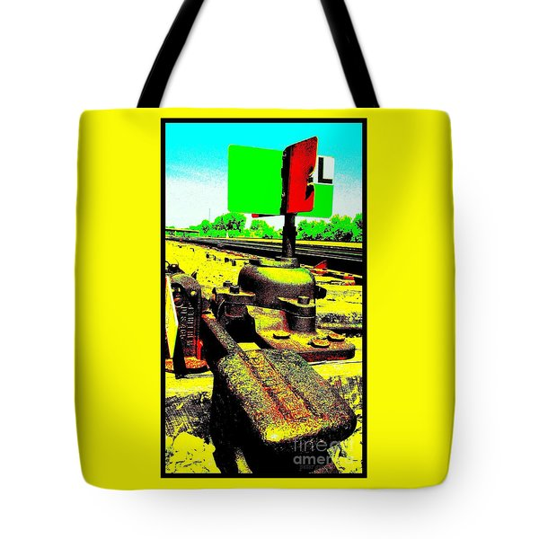 Tote Bag featuring the photograph Steel Diesel Track Signal by Peter Gumaer Ogden