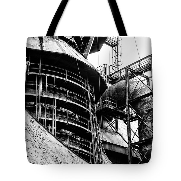 Steel Mill In Black And White - Bethlehem Tote Bag by Bill Cannon