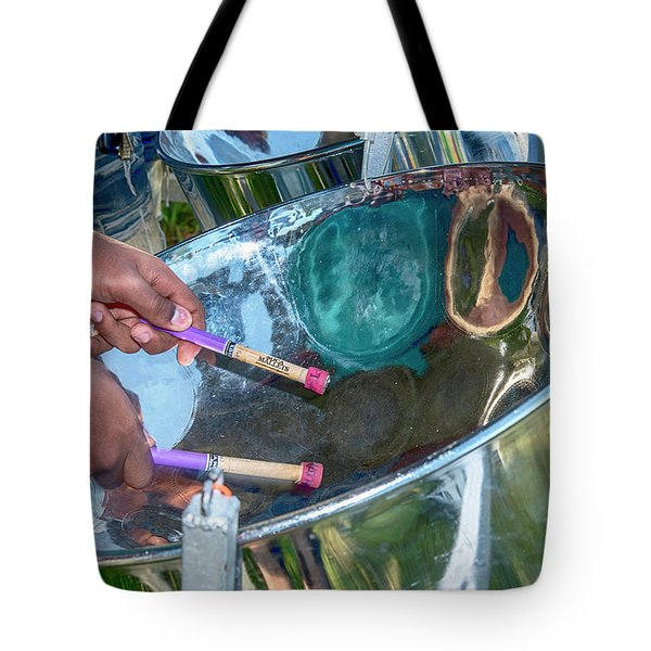 Tote Bag featuring the photograph Steel Pan by Rachel Lee Young