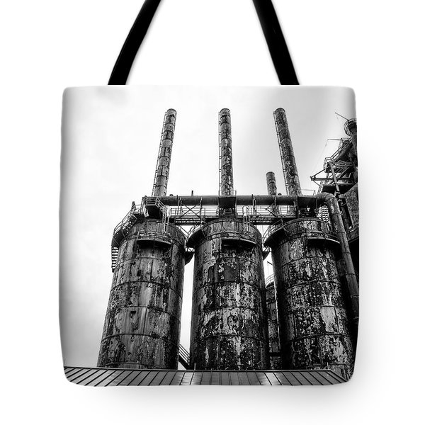 Steel Stacks - The Bethehem Steel Mill In Black And White Tote Bag by Bill Cannon