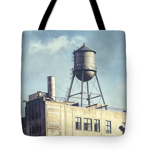 Tote Bag featuring the photograph Steel Water Tower, Brooklyn New York by Gary Heller