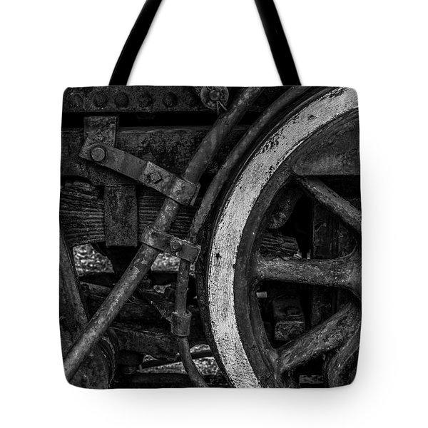 Steel Wheels In Monochrome Tote Bag