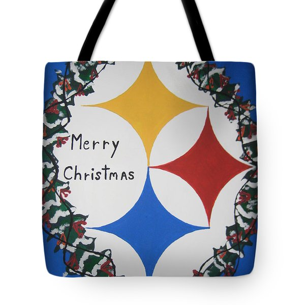 Steelers Christmas Card Tote Bag by Jeffrey Koss