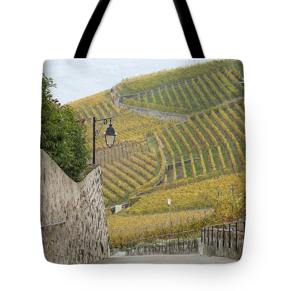Steep Path In The Lavaux Vineyards Tote Bag by Colleen Williams