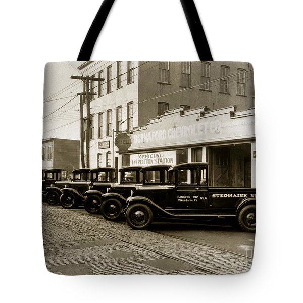 Stegmaier Brothers Inc Beer Trucks At 693 Hazle Ave Wilkes Barre Pa 1930s Tote Bag