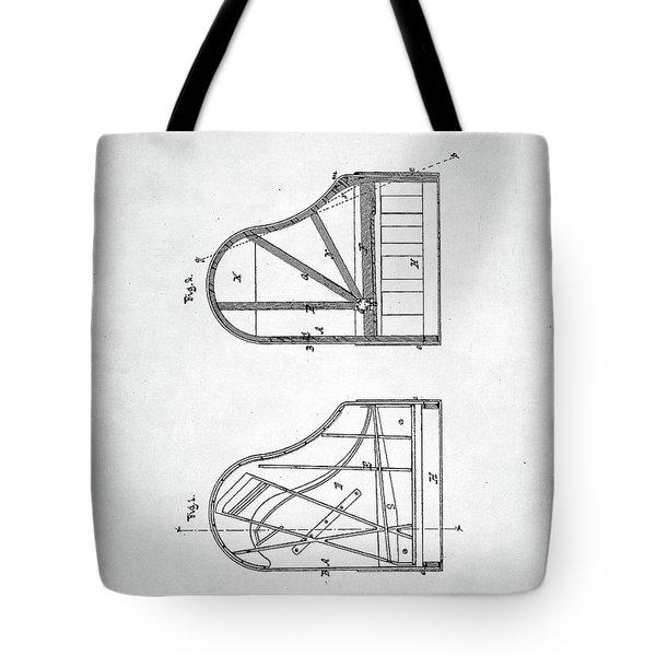 Tote Bag featuring the digital art Steinway Grand Piano Patent by Taylan Apukovska