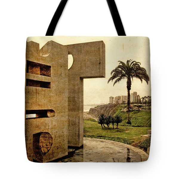 Tote Bag featuring the photograph Stelae In The Park - Miraflores Peru by Mary Machare