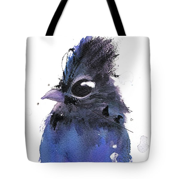 Tote Bag featuring the painting Steller Jay by Dawn Derman