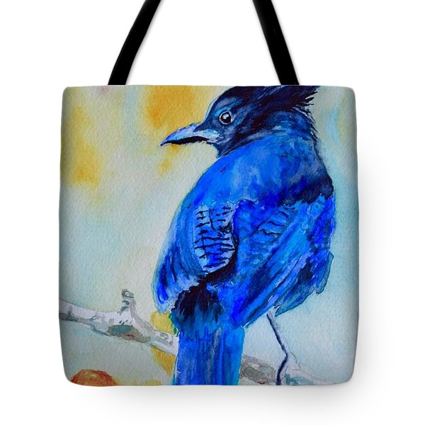 Steller's Jay On Aspen Tote Bag