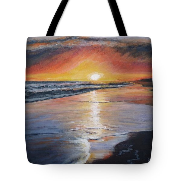 Tote Bag featuring the painting Stephanie's Sunset by Donna Tuten