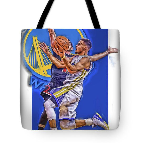 Stephen Curry Golden State Warriors Oil Art Tote Bag
