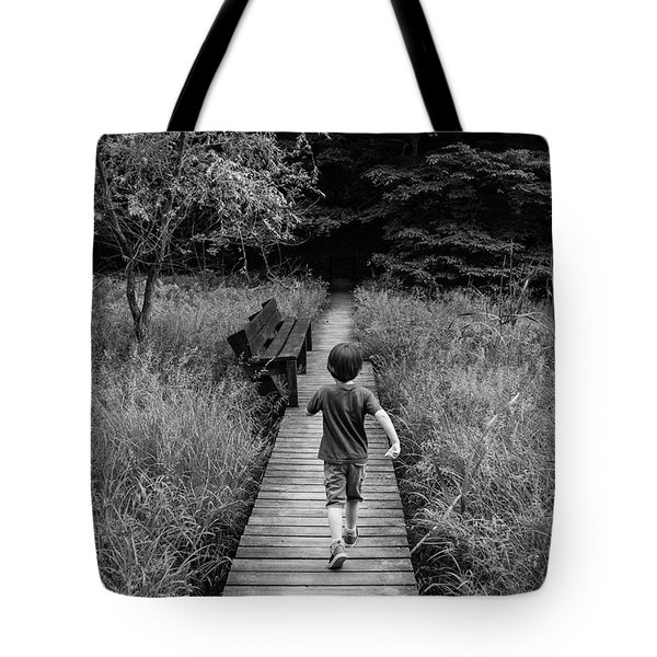 Tote Bag featuring the photograph Stepping Into Adventure - D009927-bw by Daniel Dempster