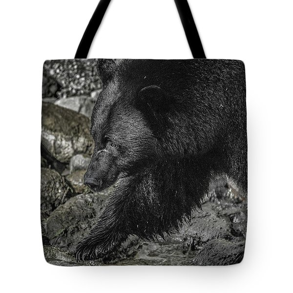 Stepping Into The Creek Black Bear Tote Bag