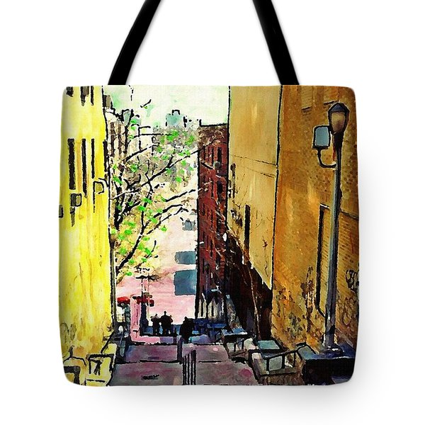 Steps At 187 Street Tote Bag by Sarah Loft