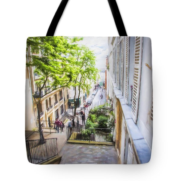 Steps At Montmartre Tote Bag by John Rivera