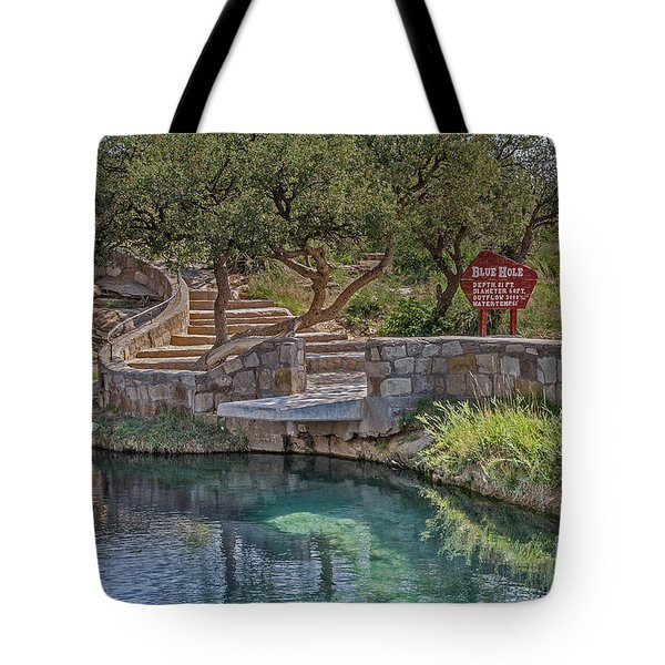 Tote Bag featuring the photograph Steps Leading To The Blue Hole by Sue Smith