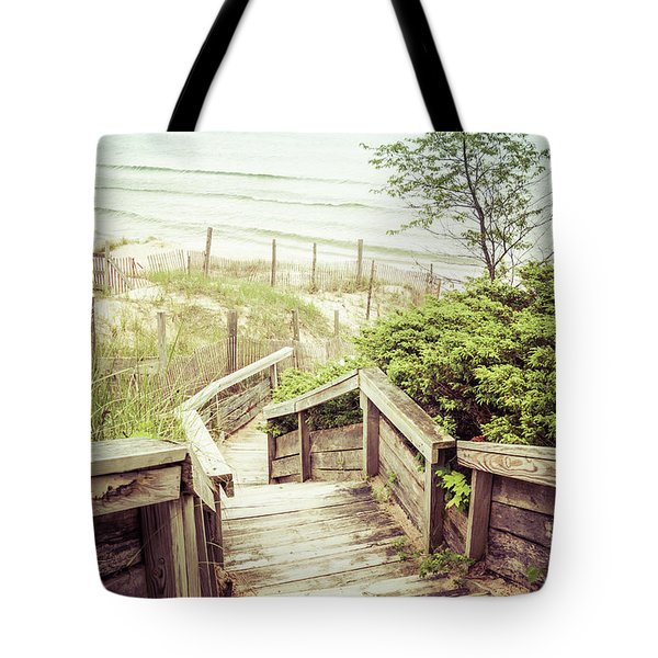 Tote Bag featuring the photograph Steps To Lake Michigan by Joel Witmeyer