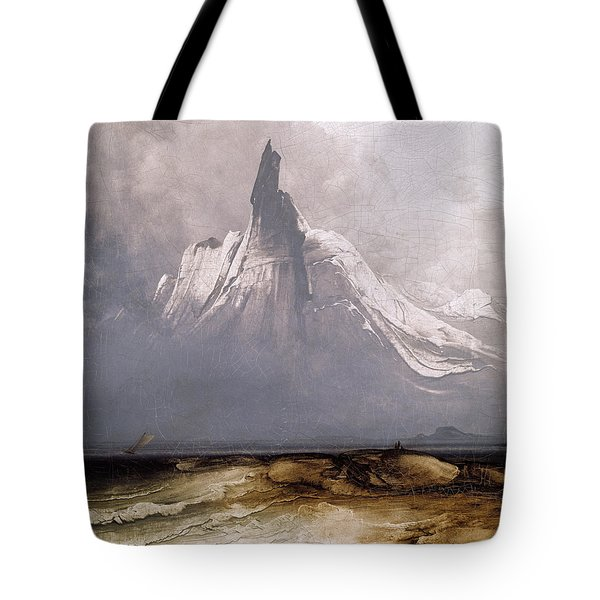 Tote Bag featuring the painting Stetind In Fog by Peder Balke