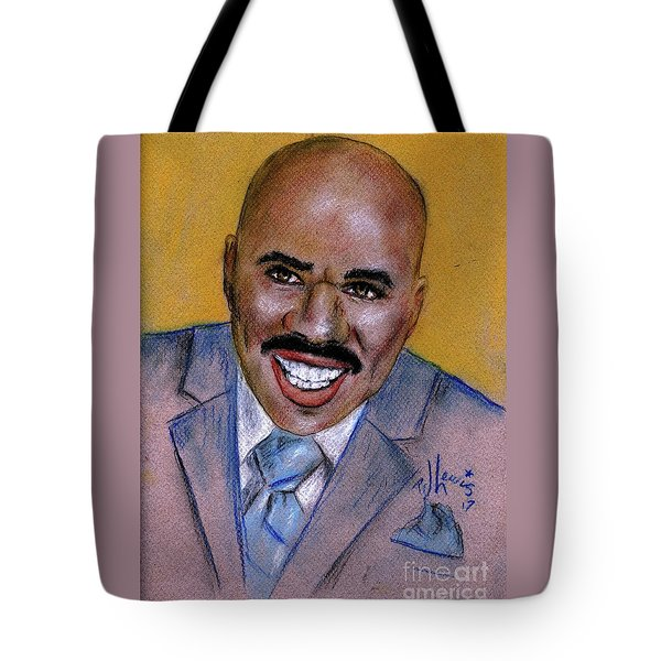Tote Bag featuring the drawing Steve Harvey by P J Lewis