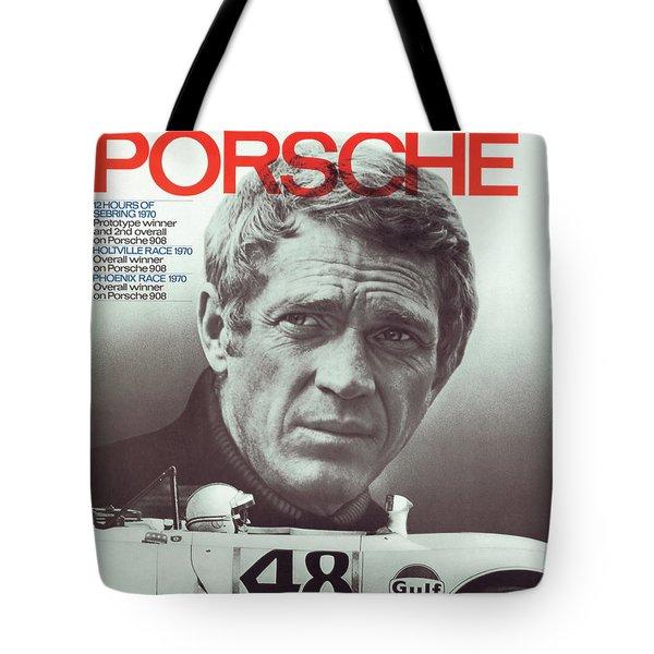 Steve Mcqueen Drives Porsche Tote Bag