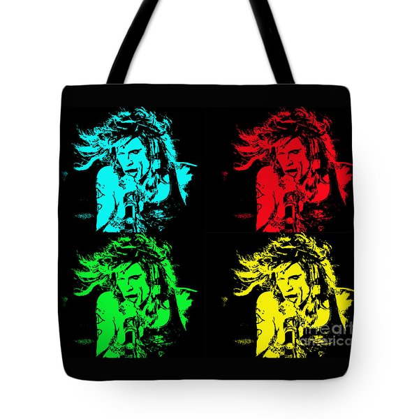 Tote Bag featuring the photograph Steven Tyler Pop Art by Traci Cottingham