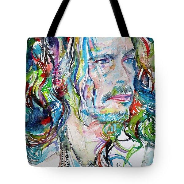 Steven Tyler - Watercolor Portrait Tote Bag